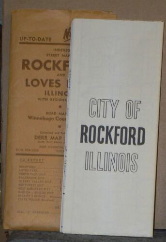 Large 1986 Street Map of Rockford, Illinois