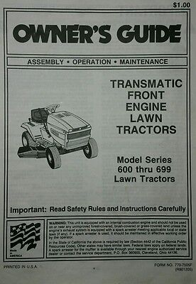 Mtd Riding Lawn Mower Parts - MTD 600-699 Lawn Garden Tractor Owner & Parts Manual (2 BOOKS) 34pg Riding Mower