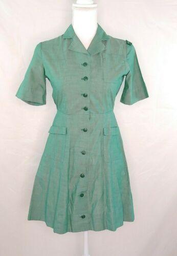 Vintage Official Girl Scout Uniform Dress Sz 12 Green Button Front Cotton Large