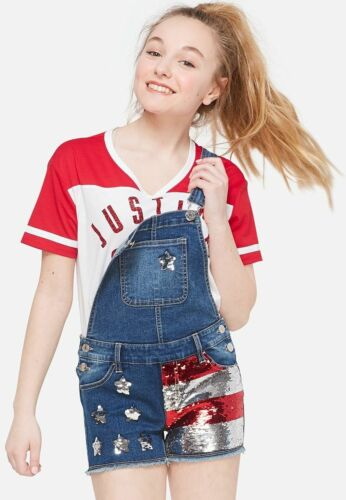 JUSTICE GIRLS SZ 16 AMERICAN FLAG OVERALL SHORTS 4TH OF JULY JEAN SHORTS