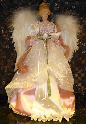 """Large 17"""" VICTORIAN Pink & White ANGEL Figure Christmas TREE TOPPER Decor"""