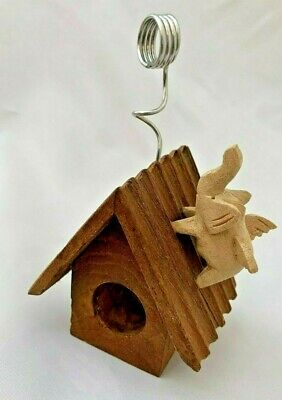 Wood 4.5 Faux Bird House With Winged Elephant Paper Clip Document Holder