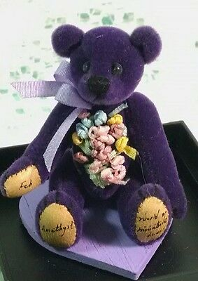 World of Miniature Bears FEBRUARY Amethyst Bear by Tina Richardson COA