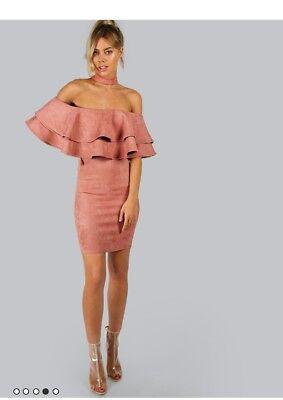 Shein  Suede Choker Neck Layered Ruffle Dress Women Size   S