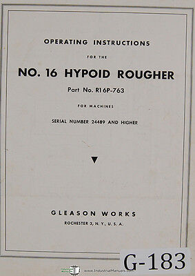 Gleason 16 Hypoid Rougher 24489 Up Opeators Instructions Manual