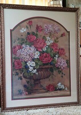 LG HOME INTERIOR HOMCO FLOWERS in a Vase BY BARBARA MOCK FINE ART PICTURE VGUC