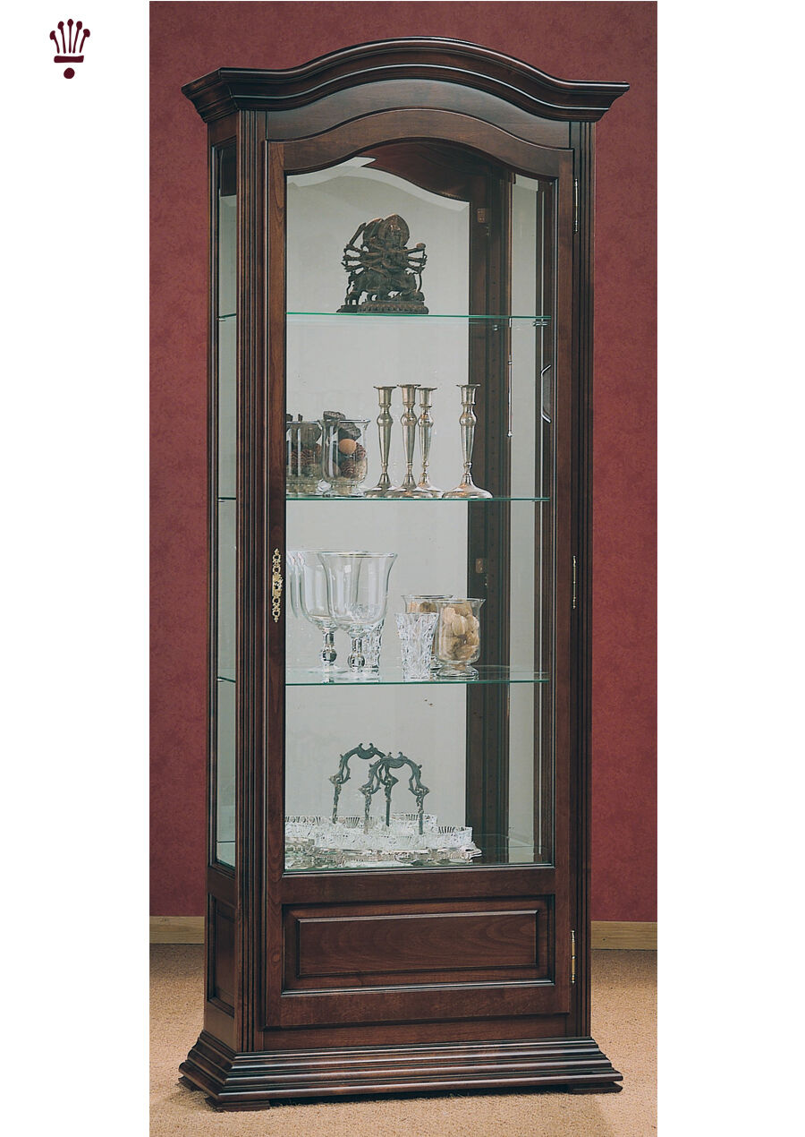 Details About Billib Monique Gl Display Cabinet Lighting Shelves Mirror Dark Oak Clic