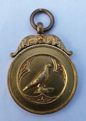 ATTRACTIVE PIGEON RACING BIRD FANCIERS VTG MEDAL or FOB BADGE #2