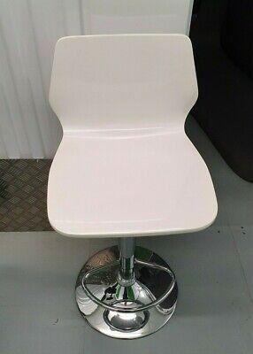 Swivel Bar Stool Pub Chair Chrome Base Gas WHITE GLOSS Kitchen Breakfast OFFICE