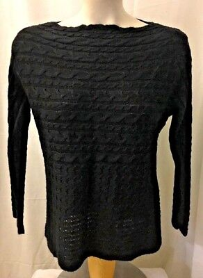 Ruby Rd Womens Sweater Black Boat Neck Cable Knit Size PXL Pullover made in USA