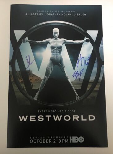 * WESTWORLD * signed autographed 12x18 photo poster * WRIGHT, NOLAN, MARSDEN *