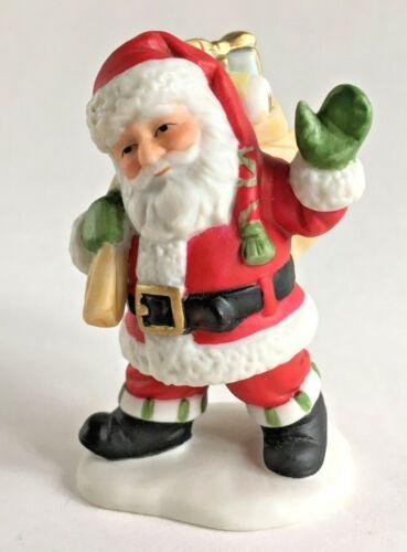 Vtg Lefton Colonial Village Figurine Porcelain Waving Santa Claus Sack Toy 10964