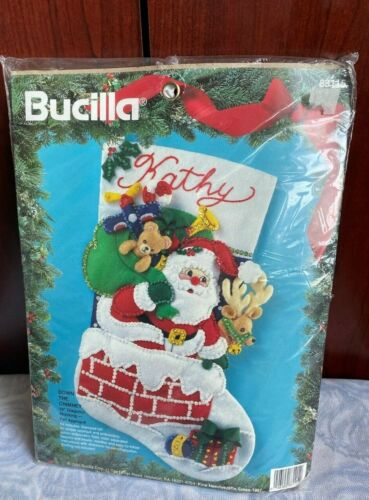 new 1994 bucilla christmas down the chimney stocking felt applique number 83115