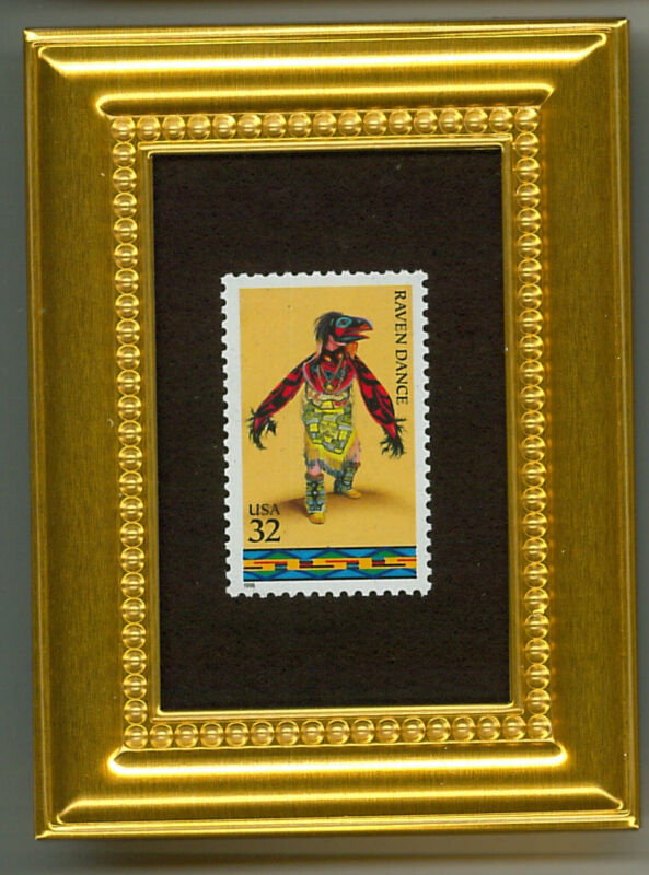 NATIVE AMERICAN RAVEN DANCE  - A COLLECTIBLE GLASS FRAMED POSTAGE MASTERPIECE!