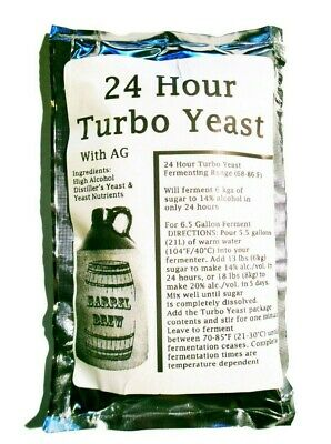 1 Pack 24 Hour Turbo Yeast with AG - Moonshine Alcohol Whiskey Rum Vodka 6.5 ga. ()