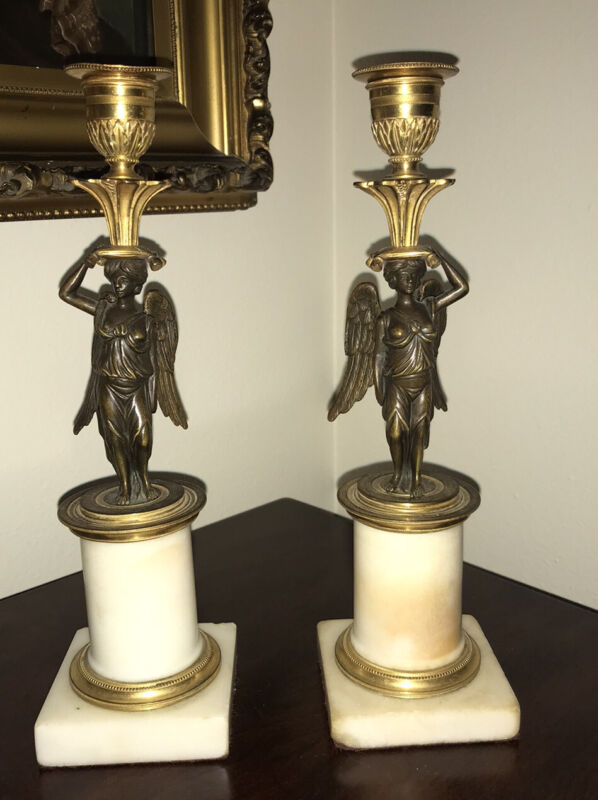Pair Antique French Empire Marble Bronze Gold Ormolu Winged Victory Candlesticks