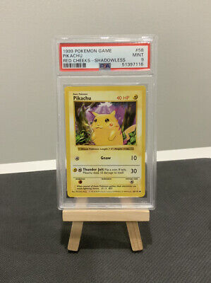 1999 Pokemon Base Set Pikachu SHADOWLESS RED CHEEKS PSA 9 MINT WOTC card no holo
