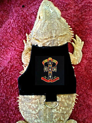 Lil' Bestie Bearded Dragon reptile Harness and Leash GUNS N ROSES