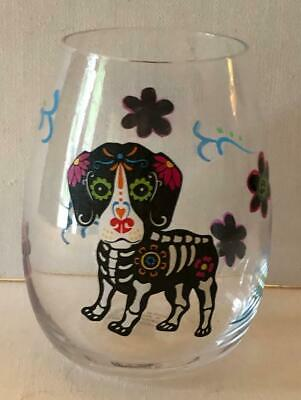 Day of the Dead Skeleton Dog Drinking Glass Wine Tumbler](Skeleton Drinking)