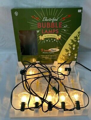 Electric Bubble Lights 7 CLEAR Christmas Candle Lamps w/ Glitter Target 2002