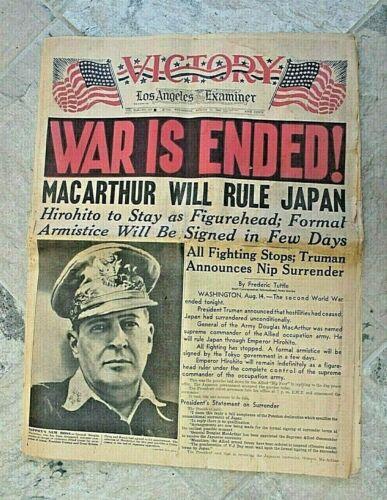 "Vintage Newspaper ""War is Ended"" WWII Los Angeles Examiner Wednesday 15, 1945"