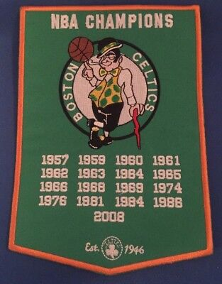 "Boston Celtics 17X NBA World Champions Banner Patch Dynasty 5"" X 7"" -"