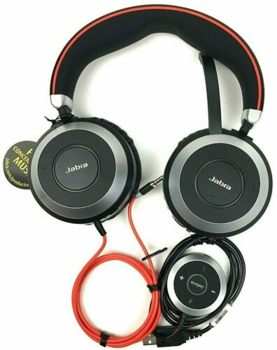 Jabra Evolve 80 MS Stereo Headset HSC019 w/ USB Adapter and Case NEW OUT OF BOX