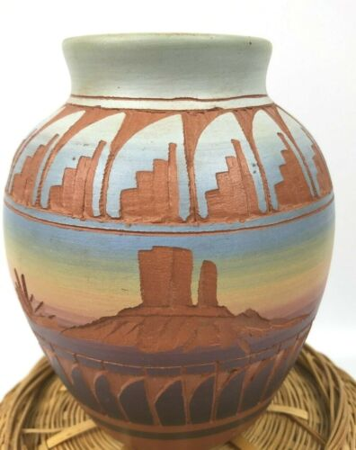 Mesa Verde Navajo Hand Painted Teal Orange Hand Etched Pottery Vase Signed