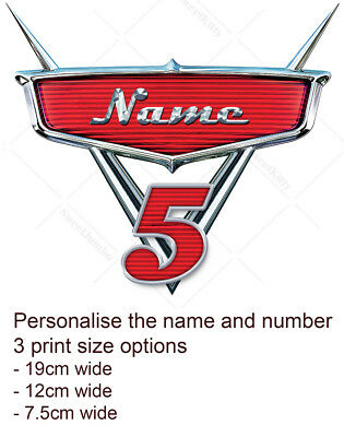 Cars Movie Badge Logo Cake Topper Personalised Edible Icing Print