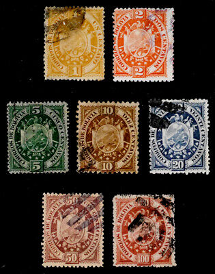 BOLIVIA: 1894 19TH CENTURY CLASSIC ERA STAMP COLLECTION SCOTT #40-46 SOUND
