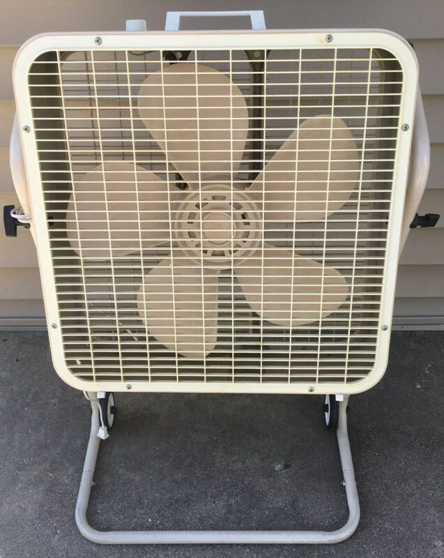 VINTAGE 3 speed Lakewood Electric Box Fan P223 Wheel Stand Tested Working RARE