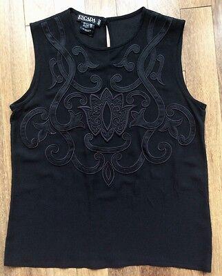 EXTRAVAGANT ESCADA Black 100% Silk Semi-shear Embroider Blouse/Cami/Tank Top 8/M
