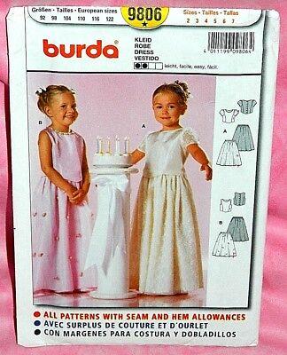 Uncut Burda Girls Childs Sz 2-7 Formal Flower Girl 2-Piece Dresses Pattern 9806