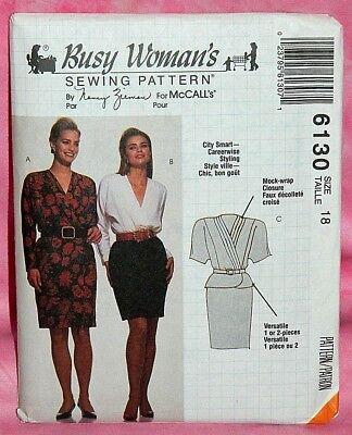 Uncut McCalls Misses Sz 18 Mock Wrap 1 or 2 Piece Dress Pattern 6130 Top Skirt