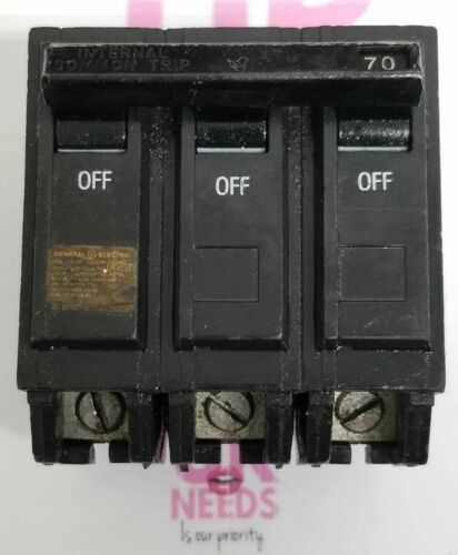 GE GENERAL ELECTRIC 70 AMP CIRCUIT BREAKER 3 POLE 240 VAC THQAL32070