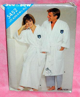 Uncut Butterick Misses Mens XS-XL Loose Fit Front Wrap Robe & Belt Pattern 5452