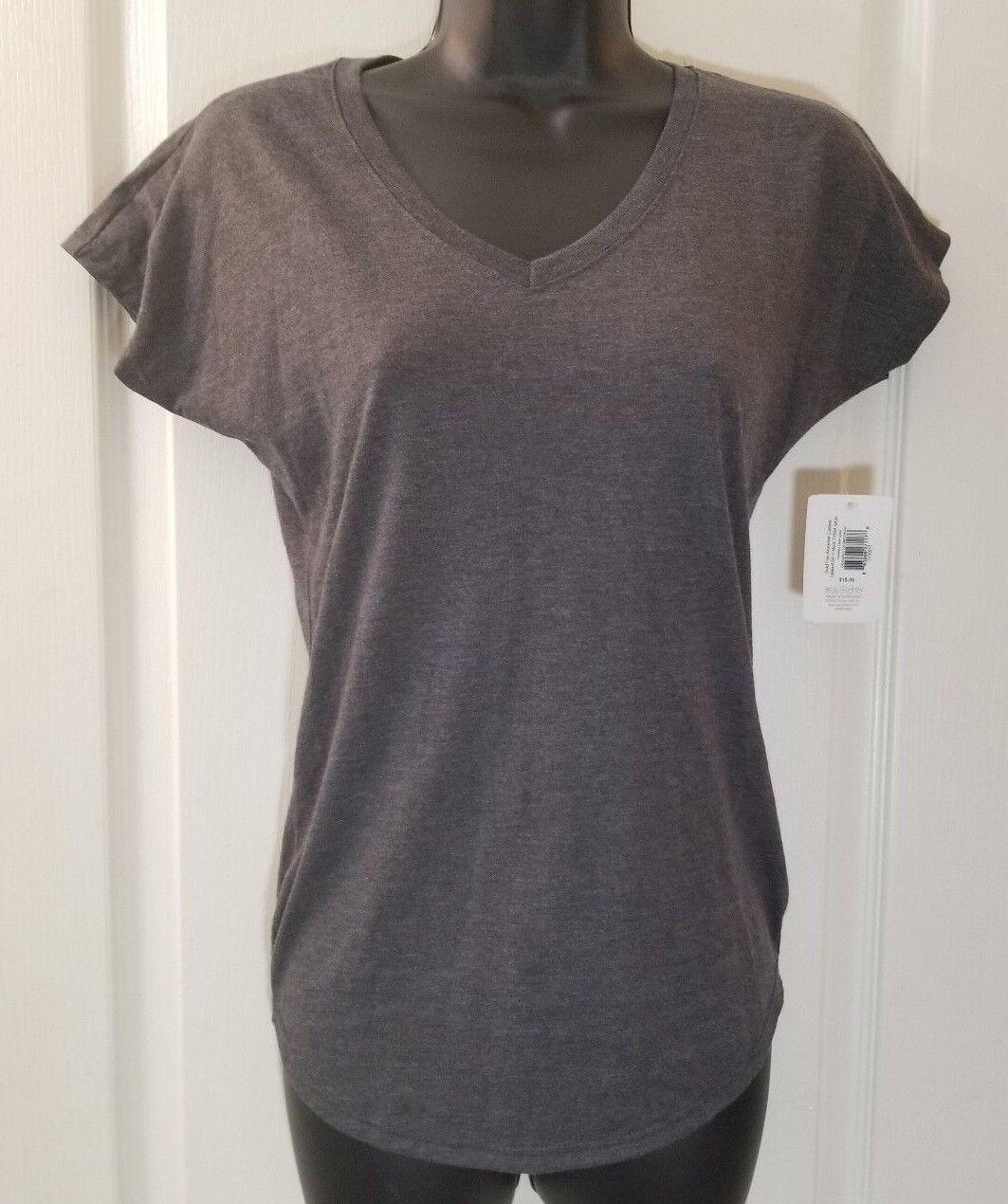 GOLD TOE Sz Small Gray Short Sleeve V-Neck Tee T-Shirt F2