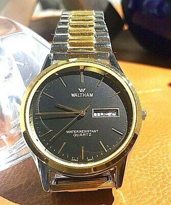 WALTHAM: 2-Tone/Black Face/Expansion Band Men's Watch. XC810 012 2105