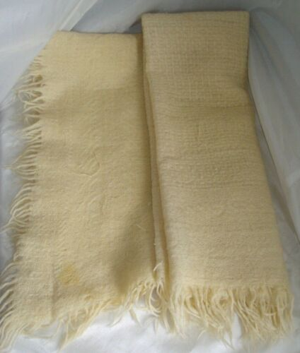 "Vintage Hand Woven Wool Baby blanket w/ Detail & Fringe, 48"" X 40"" Beige"