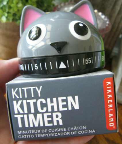 New Adorable Chubby Grey Kitty Cat Kitchen Minute Timer--Kikkerland Brand