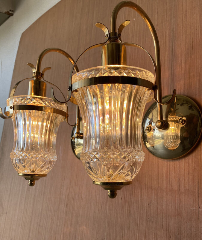 Pair Of Cut Crystal Glass Wall Sconces Single Brass Arm Lamp Light