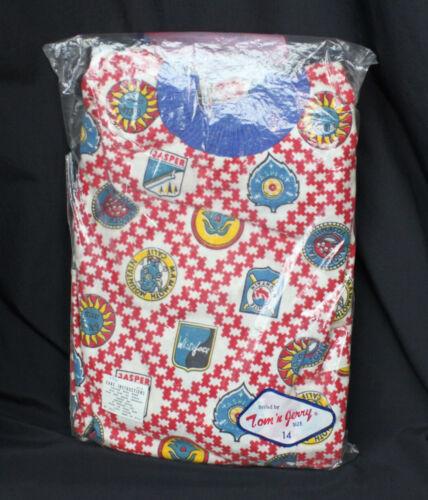 Vtg Tom n Jerry Pajamas Set Skiing Ski Lodge Logo Theme Pants Shirt Boys 14 New