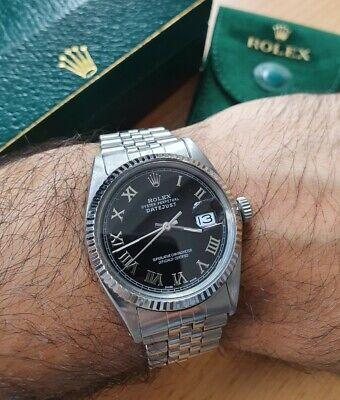 Rolex Datejust 36 Black Roman Original Box & Serviced EXTRA Dial & Bezel £6000+!