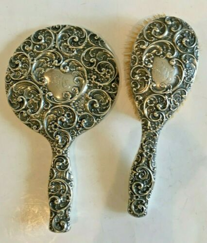 Exquisite Antique Sterling Silver Vanity Mirror & Brush by Whiting C. 1906