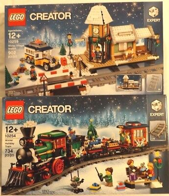 LEGO 10254 10259 Winter Holiday Train + Winter Village Station Christmas tree
