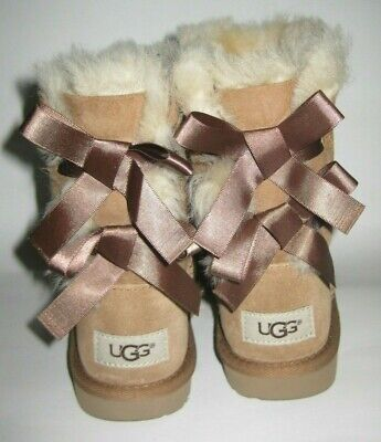 UGG Australia Girl's Kids Bailey Bow Boots 1017394k Tan Size Youth 13