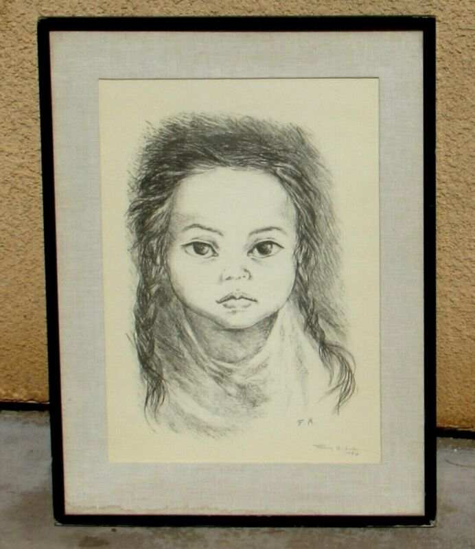 Fanny Rabel Latin American Modernist Lithograph of Young Girl Hand Signed/dated