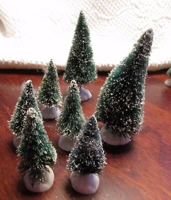 7 Flocked Bottle Brush TREES for Christmas Villages & Train Sets 2-4