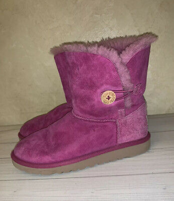 UGG Australia Kids Girls Boots Fuchsia Pink 4 Youth Bailey Button DS1
