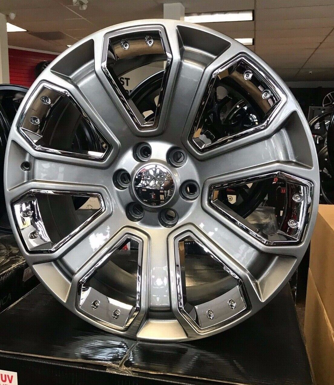 "24"" GMC Yukon Denali Chevy Silver Wheels Rims TIRES"
